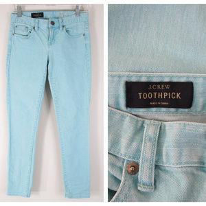 J. Crew Mint Toothpick Jeans In Yarn Dyed Denim